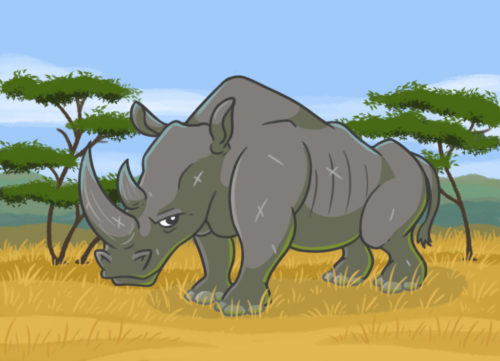 Rhinocéros dans la Savanne